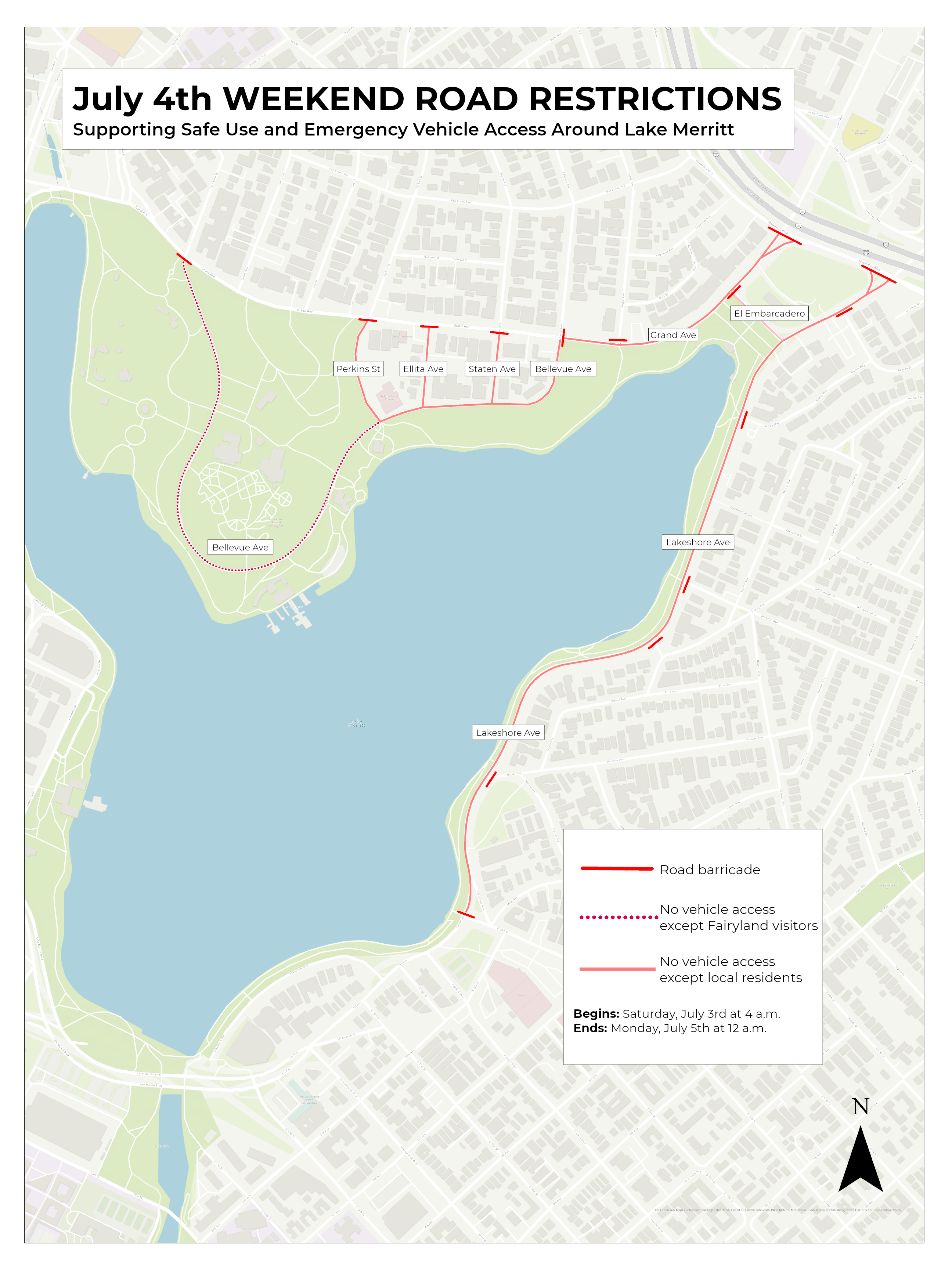 4th of July Lake Merritt traffic closures 2021 map