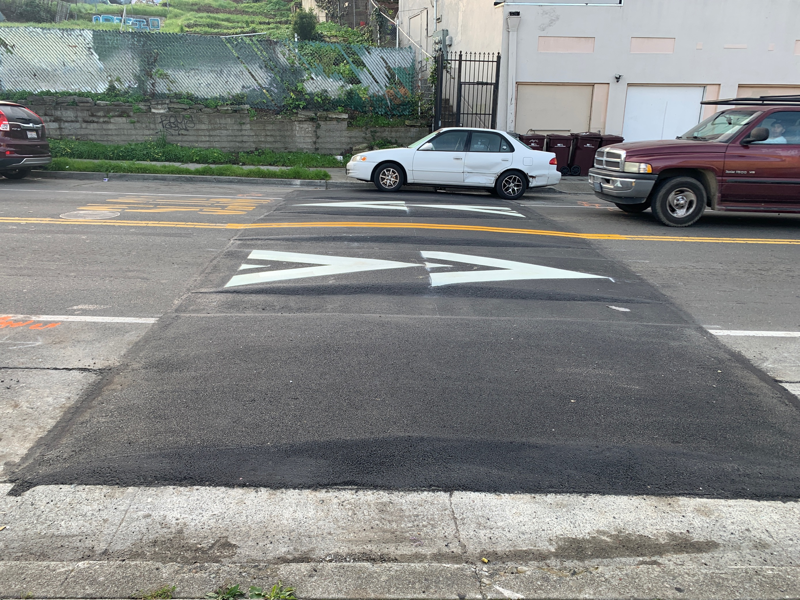 """35h Avenue installation of the """"Oakland Speed Cushion"""""""