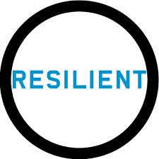 "A circle with the text ""RESILIENT"" in blue caps"