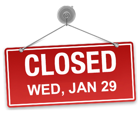 Closed Jan 29 Sign Graphic