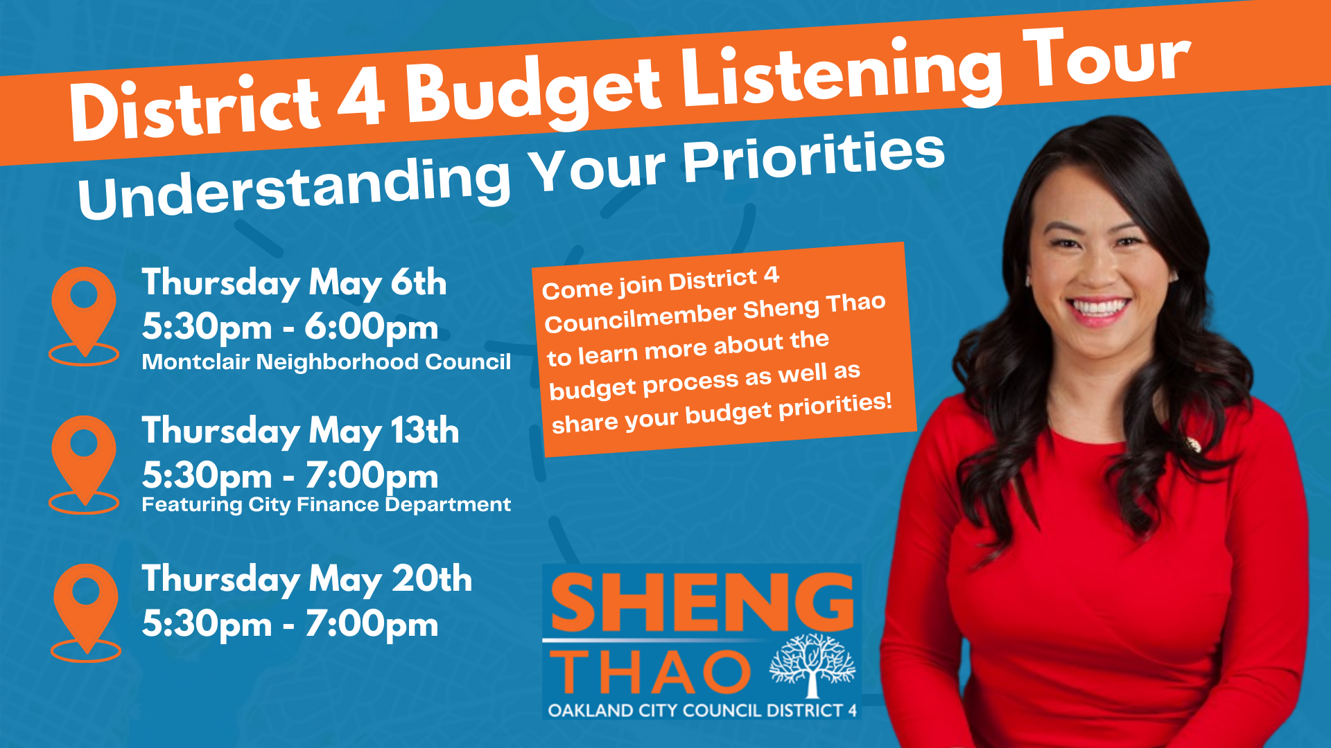Budget listening tour graphic with dates and times. see body for information.