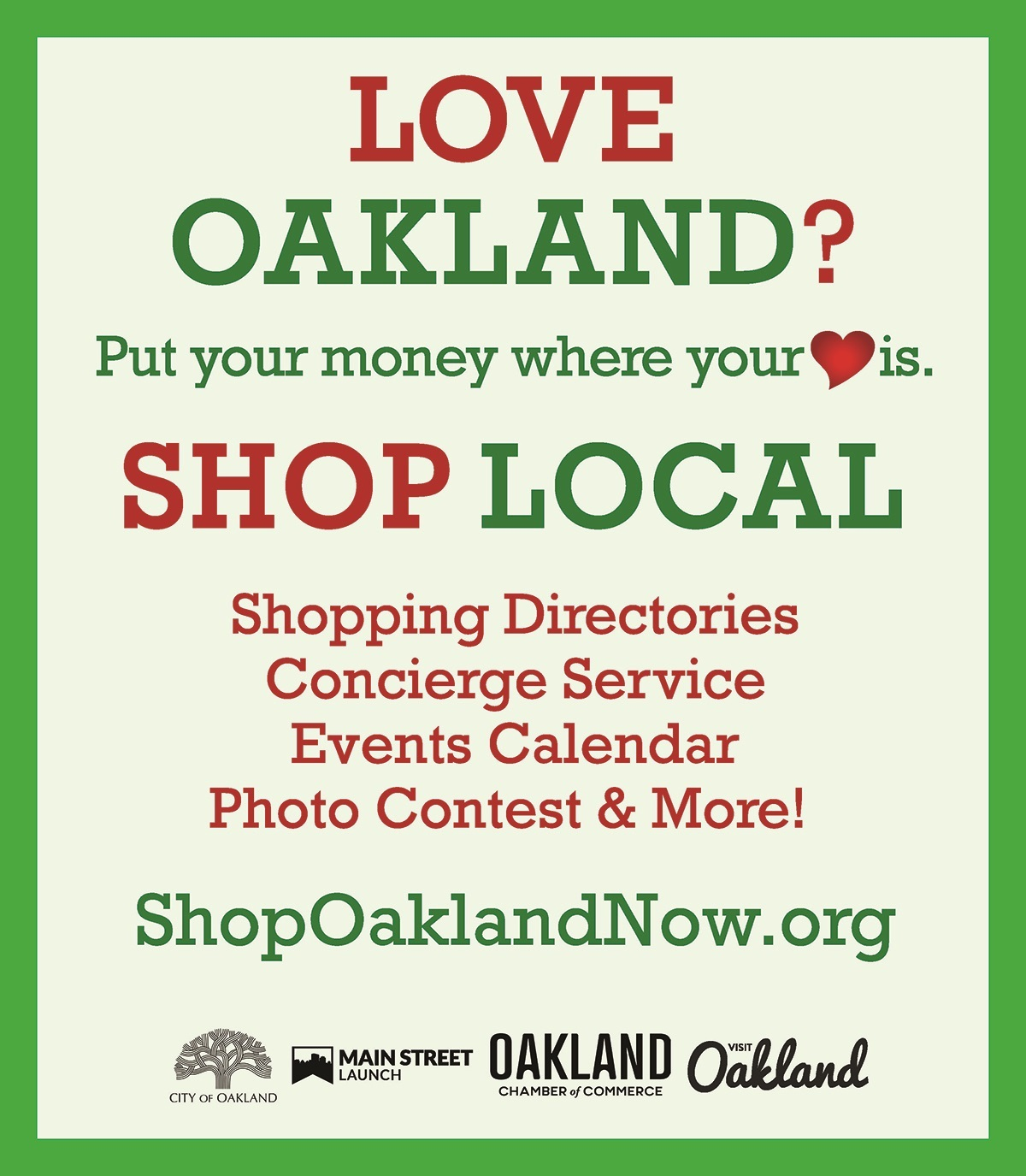 Love Oakland? Shop Local campaign graphic