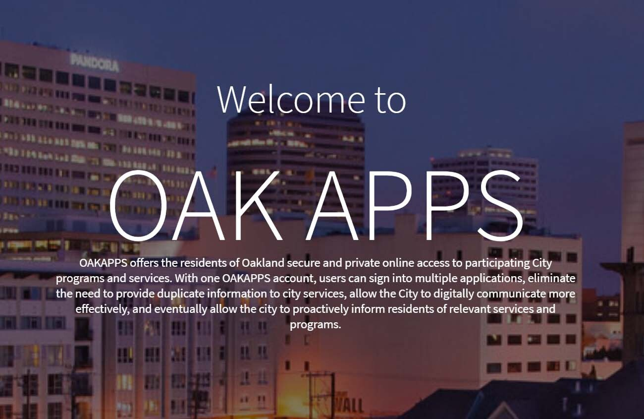 "Screenshot of the banner for OAK APPS that reads ""Welcome to OAK APPS"""