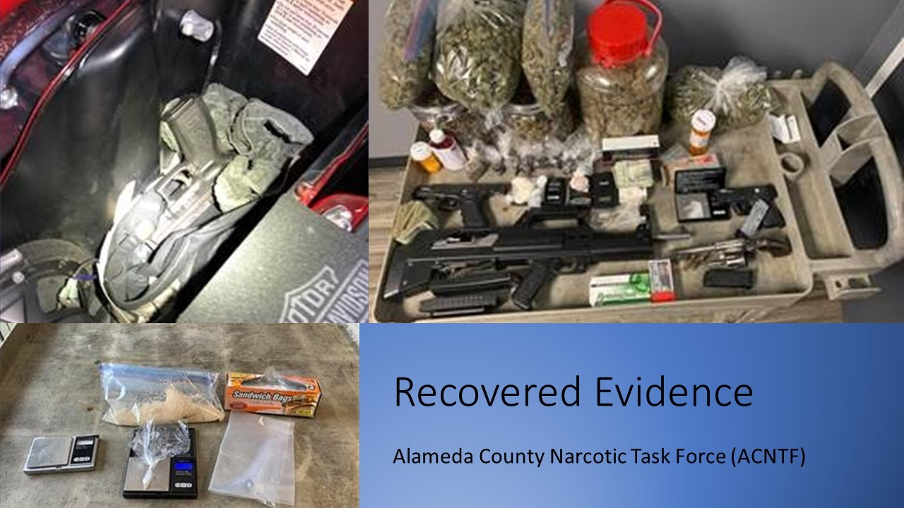 Drugs, Cash and Firearms displayed