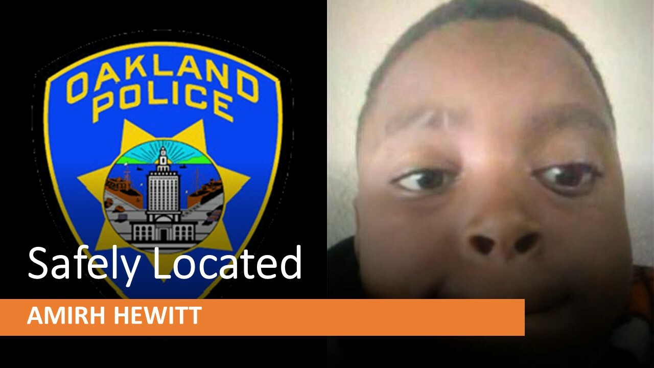 Photo of Amirh Hewitt who was safely located and a photo of OPD badge