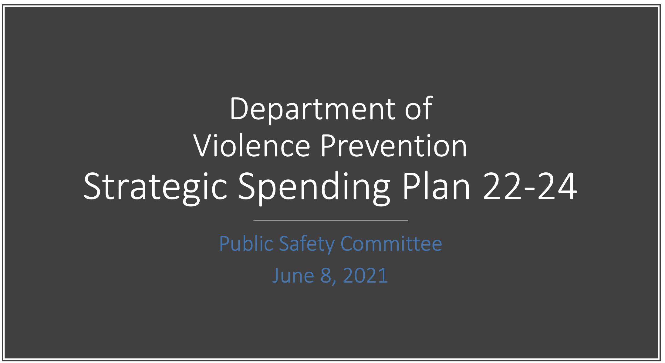 Slide 1 of Strategic Spending Plan Presentation