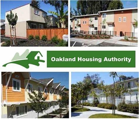 Graphic showing four different multi-family home units with the center showing the Oakland Housing Authority logo and text.