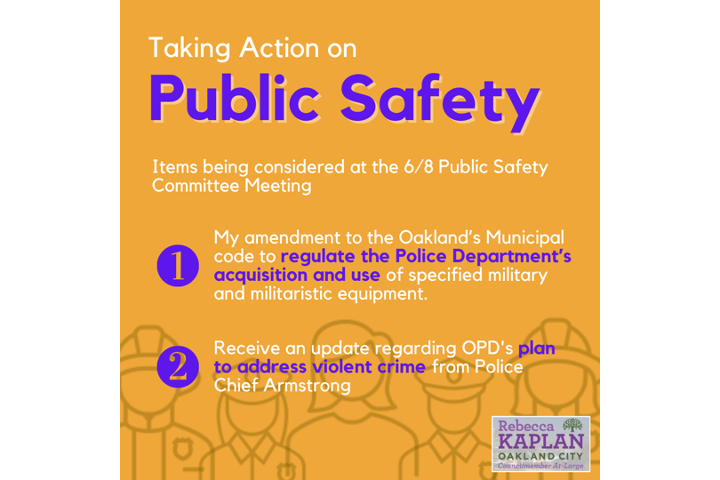 Graphic that lists two items on the 6.8 Public Safety Committee meeting agenda