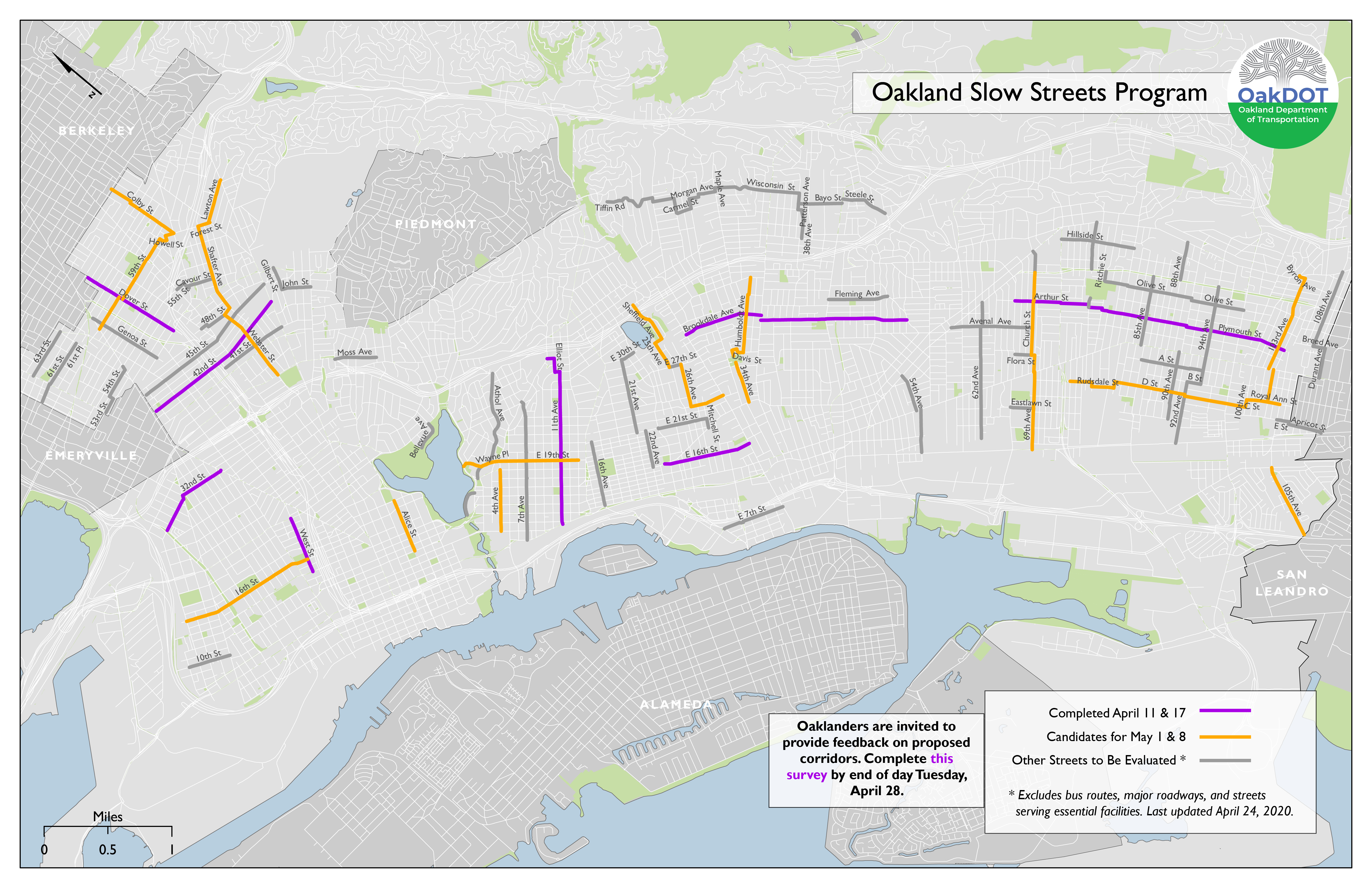 Oakland Slow Streets program map updated April 24, 2020