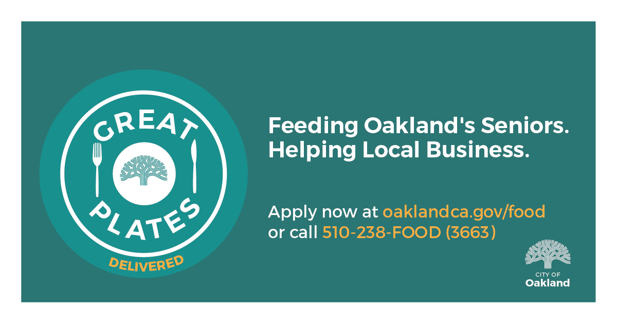 Feeding Oakland's Seniors. Helping Local Business. Apply now at oaklandca.gov/food or call 510-238-FOOD (3663)