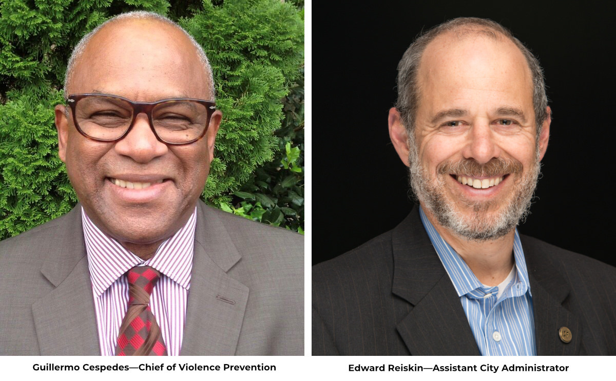 Headshots of Guillermo Cespedes, Cheif of Violence Prevention and Edward Reiskin, Assistant City Administrator