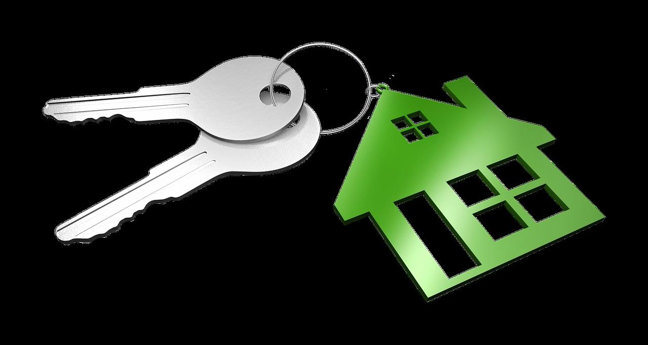 Keys with Green House Keychain