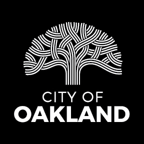 Black background, white lettering of City of Oakland Logo