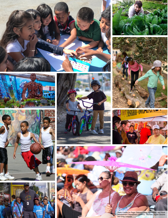 Collage of 9 Scenes of Oakland. From left to right: 1) children playing a game on a table outside; 2) man in vegetable grden; 3) plant shop with mural; 4) two small children with bikes; 5) three children crossign a log over a stream; 6) three children playing basketball outside; 7) people shopping at Asian market; 8) adult posing for a pic with small children at a camp or event; 9) women sitting outside under parasols